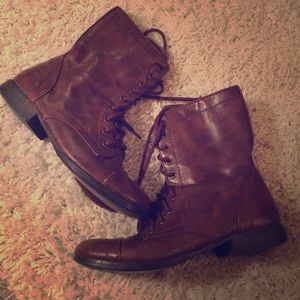 Faux brown leather combat boots sz 8